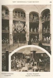 """Interiörer från NK publicerade som exempel på """"det moderna varuhuset"""" i tidskriften Hela världen 1918."""